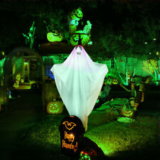Halloween White Ghosts Lawn Stakes Outdoor Yard Decor Lighted Pathway