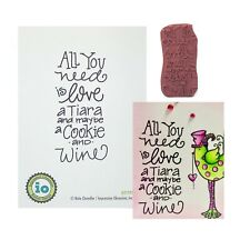 Tiara Cookie Wine Rubber Stamp Impression Obsession Cling Stamps Words D21195