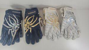 Lot of 4 Spiderz Batting Gloves Men's Adult Lg