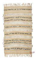 Moroccan Wedding Blanket Vintage Handira Tamizart Throw Rug 200 cm x 121 cm (H7)