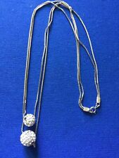 Sterling Silver Double Chain Necklace W/Crystal Ball Pendants