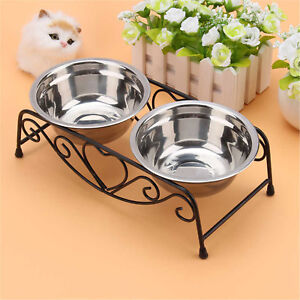Double Pet Bowls Dish Dog Cat Stainless Steel Stand Feeder Food Water Durable UK