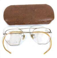 Vintage/Antique 1930s Eye Wear 12k Gold 1/10 12 KGF Filled Frames With Case #B7