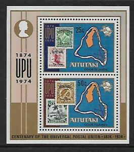 1974 Aitutaki UPU Cent Mini Sheet Complete MUH/MNH as Issued