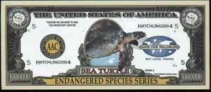 SEA TURTLE 🐢🐢 One Million Note - Fantasy Money 🐢 Endangered Species Series