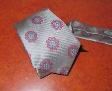 Vintage Holt Renfrew - Made in Italy 100% Silk Tie - Grey/Burgundy/Blue