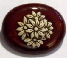 broche ovale ancienne unique en résine  couleur brun fleurs beiges 413