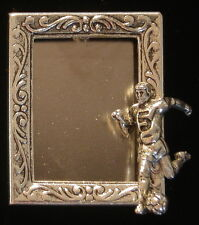 Soccer Ball Player Photo Frame Pin Silver Plate & Oxidized Matte Silver
