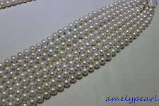 "white round Fresh water pearl necklace 12-14mm 15INCH No Metal ""handmade"""