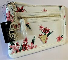 NWT GUESS DULCE WRISTLET BAG Floral Logo Clutch Pouch Handbag Wallet GENUINE
