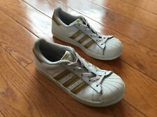 Adidas Girl's Superstar Sneakers White Gold Size 3