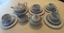 WEDGWOOD SHINY BLUE QUEEN'S WARE 4 Place settings, Sugar, Creamer, Teapot set