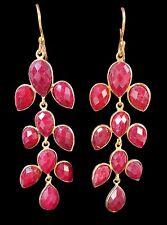 Red Ruby XL Chandelier Drop Earrings Dangles $189 NEW 18K Gold Vermeil Setting
