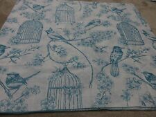 Birds bird cage flowers leaves white teal blue craft remnant material 90x90cm