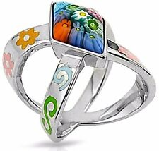 ALAN K. MARQUISE SHAPE STONE - X SHAPED MULTICOLOR MURANO GLASS & ST/SILVER RING