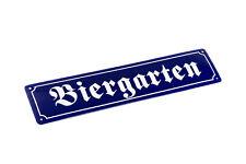 BIERGARTEN Kneipe Bar Schild Blechschild Straßenschild Metallschild 46x10cm