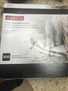Delta Corner Shelf With Assist Bar-Polished Chrome-Maximum 300Lbs