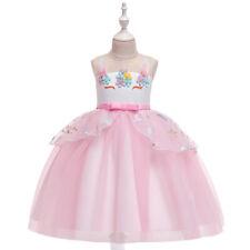 New Kid Flower Girl Unicorn Pageant Party Cosplay Fancy Dress Pink Sz 3-4T Z88A