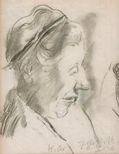 OLD LADY PORTRAIT Pastel Drawing WALTER SICKERT Pupil FRANK GRIFFITH c1954