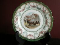❤Antique IMPERIAL CROWN CHINA AUSTRIA CABINET PLATE HORSE DRAWN COACHING SCENE💕