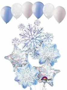 Glittering Snowflake Pattern Frozen Party Snow 5 Piece Mylar Balloons Bouquet