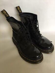 Dr Martens Patent Leather Black Boots Size 3 UK Women's Shiny