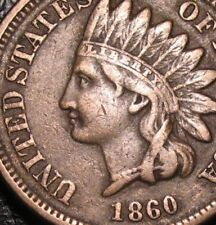 OLD US COINS 1860 INDIAN HEAD CENT COPPER NICKEL POINTED BUST CIVIL WAR PENNY