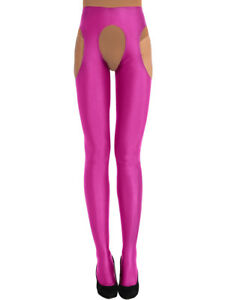Women Hot Lingerie Open Crotch Long Stockings Shiny Suspender Pantyhose Tights