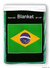 Brazil Flag Fleece Blanket 5 ft x 4.2 ft. *NIB* Brazilian Throw Brasil Soccer