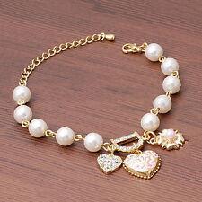 Femmes filles Bracelet cristal perles coeur doré brassard Chaîne bon Bijoux Nue