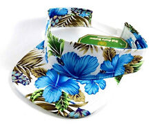 WHITE FLORAL PRINT VISOR SNAPBACK HAT CAP ADJUSTABLE HAWAIIAN SUN FLOWER GOLF