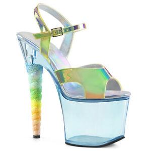 "Pleaser 7"" green glitter unicorn heel platform sandals"