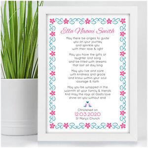 Personalised Christening Poem Gift for Baby Girl Goddaughter Baptism Girls Gifts