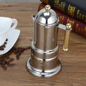 Stovetop Espresso Moka Pot Italian Coffee Maker With Stainless Steel, 4 Coffee