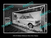 OLD LARGE HISTORIC PHOTO OF 1956 FE HOLDEN MELBOURNE MOTOR SHOW DISPLAY