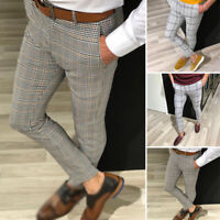 Fashion Men's Plaid Twill Jogger Pants Urban Hip-Hop Harem Casual Trousers Slim