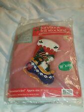 "Hobby Kraft Snowman's Sled Storybook 9228 18"" Felt Christmas Stocking Kit Bear"