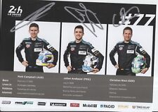 Campbell, Andlauer, Ried Hand Signed Dempsey-Proton 2018 Le Mans Promo Card.
