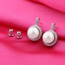 18k white gold filled Wedding pearl earrings Antique lady white topaz earrings