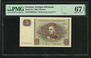 Sweden : 5 Kronor 1960 ; PMG : Superb Gem UNC 67 ; EPQ