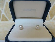 Mikimoto 18k yellow gold 9mm 8.5mm AA white cultured pearl stud earrings pink