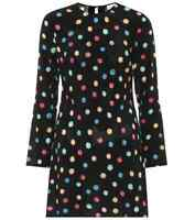 BNWT RIXO vanessa dress black pastel polka dot silk mini short long sleeve XS
