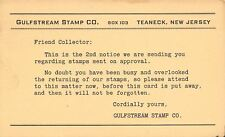 Teaneck New Jersey~Gulfstream Stamp Co~Friend Collector~Return Please~1949 PC