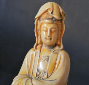TIBETAN OLD ANTIQUE YAK BONE CARVED QUAN KWAN YIN STATUE V2 GUANYIN BUDDHA TIBET