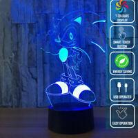 3D Lamp LED Acrylic HEDGEHOG 7 Colour Night Light Touch Kids Gift AU