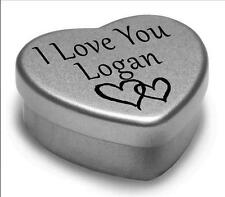 I Love You LOGAN MINI CUORE TIN Regalo per i heart LOGAN con cioccolatini