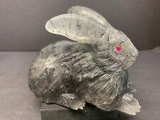 Smoky Quartz W/ Black Tourmaline Natural Crystal Rabbit Figurine W/ Ruby Eyes