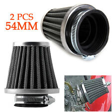 """2PCS Motorcycle 2.2"""" Tapered Chrome Pod Air Intake Air Filters Hose Clamp Trig"""