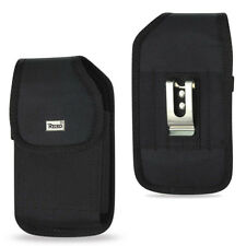 REIKO Black Vertical Heavy Duty Canvas Belt Clip Carrying Case for LG PHONES G3