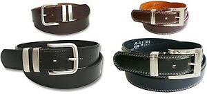 Mens Leather Belt - Black - Brown - Jeans - Smart - New